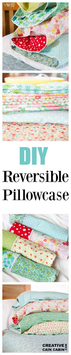 How to make a reversible pillowcase with one yard of fabric. Link to tutorial included.