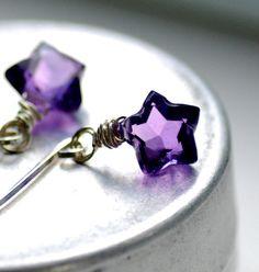 Purple Star Amethyst Earrings by WildWomanJewelry @ Etsy $38 #etsy #purple #earrings