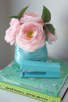 Poppin Aqua desk accessories - For Chic Sake blog!