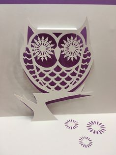 Owl pop-up card (template from Cahier de Kirigami 18)