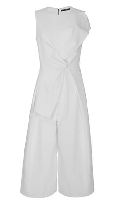 A chic statement piece is a wardrobe must for the Pre-Fall season. The eye-catching bow jumpsuit will be the perfect number to take you from day to night, summer to fall. Try a simple shoe to keep the jumpsuit in focus. Zip closure at back. Side seam pockets. Fully lined. Italian Fabrication: 48% Cotton, 45% Polyamide, 7% Elastane. Dry Clean Only.     Styled with Alma Sandals  Style Number: TPF15AGA23931   Available in: Black, Ivory