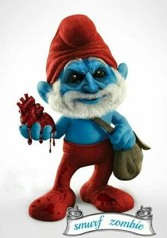 This is a Papa Smurf I would not want to be in the same room with. Zombie Kunst, Arte Zombie, Zombie Art, Disney Horror, Horror Cartoon, Zombie Cartoon, Classic Cartoon Characters, Classic Cartoons, Cartoon Kunst