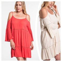 """BOHO BABE PEASANT DRESS Lightweight, boho peasant dress with cold shoulder/strap details. Polyester/Cotton blend, woven, in coral or créme.                                   ♦️XL: bust 44"""" hips 54"""" length 35""""                             ♦️1X: bust 46"""" hips 56"""" length 36""""                         ♦️2X: bust 48"""" hips 58"""" length 37"""" PLEASE DO NOT BUY THIS LISTING, I will personalize one for you. tla2 Dresses"""
