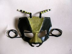 Bee Leather Mask Masquerade Mask Hornet Yellow by LovelyLiddy
