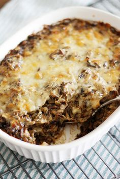 creamy mushroom + wild rice casserole by girlversusdough - need to check the recipe starter for contents, however could probably use a homemade bechamel and increase mushrooms