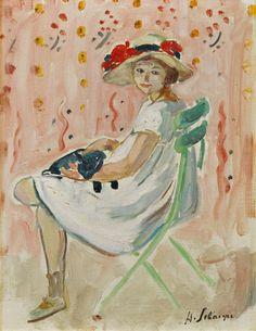 """Fille au Chat"", Henri Lebasque Oil on canvas Edouard Vuillard, Pierre Bonnard, Art Station, Henri Matisse, Outdoor Art, Renoir, French Artists, Pablo Picasso, Figurative Art"