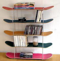 Bookshelf made from old skateboards