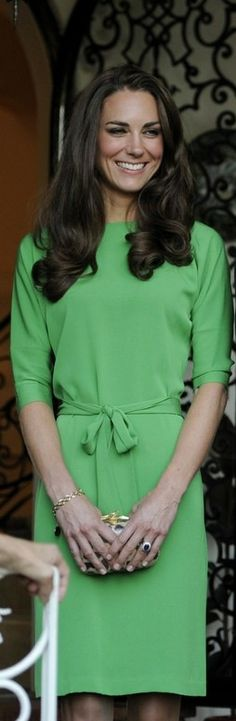 "Stunning in green! Catherine, Duchess of Cambridge attends the Consul General Reception at the Hancock Park home of the British Consulate General on July 8, 2011 in Los Angeles, California. She wore a Diane von Fürstenberg ""Maja"" Green Shift dress."