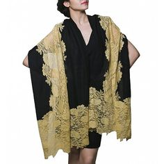 Cashmere blended black stoles fashion at dvibgyor.com black stole with golden…