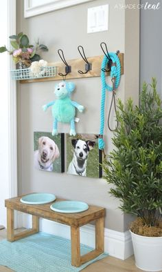 How to make a Dog Leash Holder - Stefanie J. - How to make a Dog Leash Holder How to make a Dog Leash Holder - Tap the pin for the most adorable pawtastic fur baby apparel! You'll love the dog clothes and cat clothes! Animal Room, Animal Decor, Canis, Dog Station, Dog Feeding Station, Diy Pet, Puppy Room, Dog Spaces, Wall Spaces