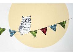 Bunting Owl Print