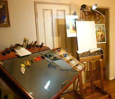 Mike Butkus' high-tech studio this is VERY professional Art Studio Storage, Art Studio Organization, Art Storage, Art Studio Design, My Art Studio, Studio Ideas, Creative Office Space, Creative Studio, Atelier Creation