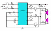 IC power amplifier, stereo power amplifier circuit using IC to provide an output power of 18 watts stereo. Stereo power amplifier circuit with IC works with a voltage source + 12 volts DC with a current of 2 amperes. Electronic Schematics, Electronic Circuit, Hifi Amplifier, Power Supply Circuit, Surround Sound Systems, Circuit Diagram, Shop Layout, Hifi Audio, Arduino