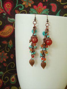 Boho Earrings, Bohemian Jewelry, Beaded Jewelry, Southwest, Aztec, Dangle Earrings