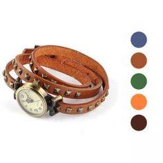 Damen Vintage Armbanduhr -Nieten-Lederband vielen Farben