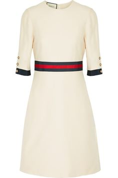 Cream wool and silk-blend Concealed hook and zip fastening at back 51% wool, 49% silk; trim1: 58% viscose, 38% cotton, 4% polyester; trim2: 50% viscose, 50% cotton; lining: 71% acetate, 29% silk Dry clean Made in Italy