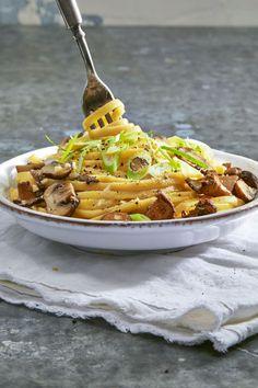 Creamy Vegan Linguine with Wild Mushroomsgoodhousemag
