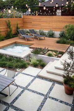 38 Cozy Backyard Patio Design Ideas - Popy Home Hot Tub Backyard, Cozy Backyard, Modern Backyard, Small Backyard Landscaping, Landscaping Ideas, Pavers Ideas, Hot Tub Deck, Backyard Beach, Stone Landscaping