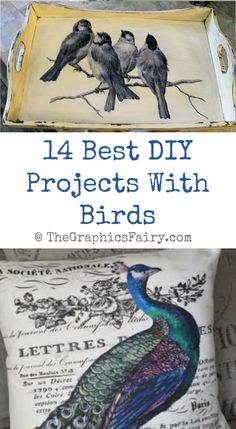 Today I've rounded up 14 of the Best DIY Projects With Birds! All of these pretty crafts and projects were created using Vintage Graphics from my site.Some were created by me, some by my contributors and some were submitted by readers! -