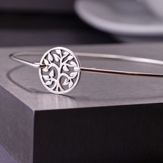 Bangle Bracelet, Silver Tree of Life Bracelet, Family Tree Jewelry, Sterling Silver Tree Bangle Bracelet. $36.00, via Etsy.