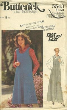 Butterick 5543 1970s Fast and Easy Casual or Dressy Jumper and Blouse Pattern Womens Vintage Sewing Pattern by pattern gate