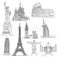 "Buy the royalty-free Stock vector ""Big Ben, Cristo Redentor, Eiffel Tower, Leaning Tower of"" online ✓ All rights included ✓ High resolution vector file . Taj Mahal Sketch, Taj Mahal Drawing, Statue Of Liberty Drawing, Big Ben, Moscow Kremlin, City Icon, Buch Design, Illustration Mode, Mesoamerican"