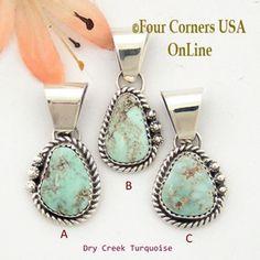 Petite Dry Creek Turquoise Sterling Pendant Navajo Artisan Alice Johnson NAP-1569 Four Corners USA OnLine Native American Jewelry