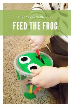 Feed the animal fine motor activity from therapy fun zone. pinned by sos inc. Frog Activities, Gross Motor Activities, Animal Activities, Gross Motor Skills, Spring Activities, Infant Activities, Preschool Activities, Physical Activities, Therapy Activities