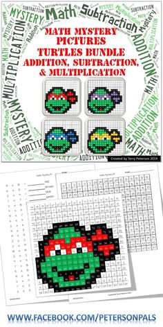 Cowabunga Dude! This if for all 4 Turtles. Swing on over to my TPT store to purchase my Ninja Turtles Mystery Pictures. They each have four different levels (color by number, addition, subtraction, & multiplication).