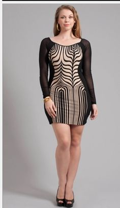 Black and taupe body con dress.  Plus size 1X, 2X, 3X.