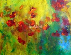 """""""POPPIES"""" by Claire Bull, Toronto // Abstract floral impressionist painting of beautiful poppies basking in the warmth of the sunshine. Acrylic on canvas original art by Claire Bull. The third in my Meadow Flowers series. Acrylic on 14x18 canvas, Original has SOLD but please enjoy the prints and cards, and beau... // Imagekind.com -- Buy stunning fine art prints, framed prints and canvas prints directly from independent working artists and photographers."""
