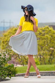 Beach Time Skater Skirt RESTOCKED!!! www.sexymodest.com #summerstyle #skaterskirt #stripedskirt #kneelengthskirt #cuteblouse #floppyhat #blackandyellow #cuteheels
