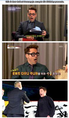 "How Robert Downey Jr. accepts his birthday presents (on the ""Iron Man 3"" international press tour...)"