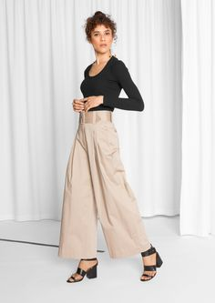 & Other Stories image 2 of Belted Flare Trousers in Beige