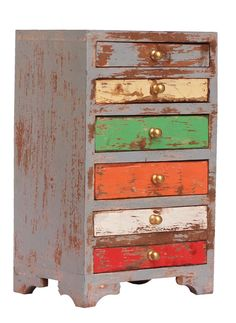 """Bulk Wholesale Hand-Crafted 11"""" Wooden Jewelry Box in Pastel Grey and more Colors with 5 Chest Drawers Decorated with Golden Knobs – Distressed-Look Boxes from India"""