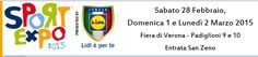 2015 Sport Expo – La fiera dello sport giovanile - Youth Sports Fair, Feb. 28-March 1, 8:30 a.m.-7 p.m., and March 2, 8:30 a.m.-1 p.m., in Verona, Viale del Lavoro  8, about 38 miles west of Vicenza;  the goal of this fair is to encourage children to practice sport; it promotes water sports, volleyball, football, basketball, rugby, archery, canoeing and kayaking, climbing, kendo and many others; great fun for children and their parents; free entrance.