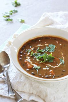 Sweet potato and black bean soup!