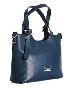 Loving this Navy Blue Notch Leather Satchel on #zulily! #zulilyfinds