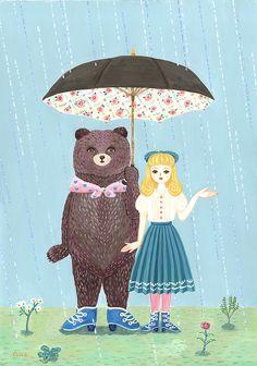 share an umbrella