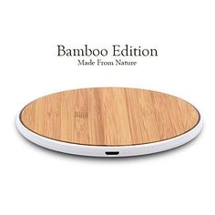 Wireless Charging Pad For Samsung Qi Ultra Slim Modern Bamboo Office Decor NEW #SurgeDisk