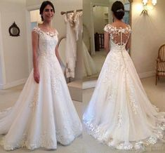 Wedding Dresses 2016 New Full Lace Appliques Illusion Neck Cap Sleeves Sweep Train Button Back Formal Vestidos Bridal Gowns Custom Made Online with $159.17/Piece on Haiyan4419's Store | DHgate.com