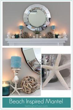 Beach Inspired Mantel, Fun in the Sun See how I decorated my Summer Beach Inspired Mantel with coastal colors and beach inspired accessories! See how I decorated my Summer Beach Inspired Mantel with coastal colors and beach inspired accessories! Beach Cottage Style, Beach House Decor, Coastal Colors, Coastal Decor, Coastal Style, Bright Colors, Do It Yourself Wedding, Beach Cottages, Beach Themes