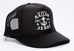 75169482872 Sailor Jerry Rum My Work Anchor Logo Tattoo Punk Biker Snapback Cap Trucker  Hat