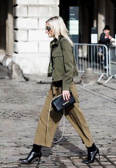 culottes army green fashion