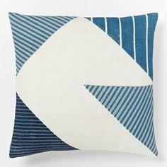 Steven Alan Hand-Blocked Triangle Pillow Cover - Midnight | West Elm