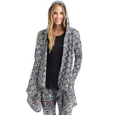 Women's Cuddl Duds Fleece Hooded Wrap Cardigan, Size: L-Xl, Light Grey