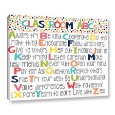 Alli Rogosich's 'Classroom Rules' Gallery Wrapped Canvas is a gorgeous reproduction featuring the rules of a classroom against a white background. A wonderful pice that will compliment any childrens r Classroom Rules, Future Classroom, Classroom Organization, Classroom Management, Classroom Decor, Kindergarten Classroom, Classroom Board, Toddler Classroom, Classroom Projects
