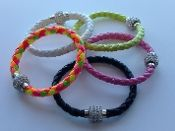 Multi Neon and Solid Neon Bracelet | Easy Magnetic Rhinestone Fastener | Braided Rope Style with Rhinestone Fastener | Color Options | One Size Fits Most | Handmade | Customized $10.00 Each