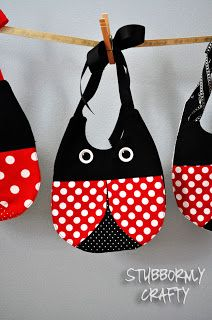 Ladybug bib pattern- change so ties not necessary. If child has eczema, don't use dark colors. Maybe bubble bee imstead? With yellow nearest skin?