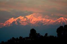 Himalaya in red at sunset  Bandipur, Nepal